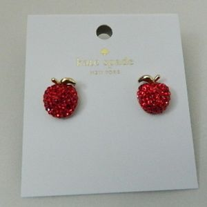 KATE SPADE Dashing Beauty Pave Apple Stud Earrings